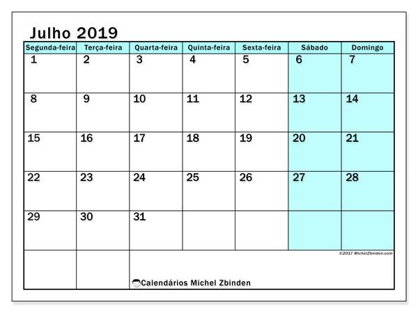 Calendário julho 2019, 59SD. Agenda para imprimir livre.