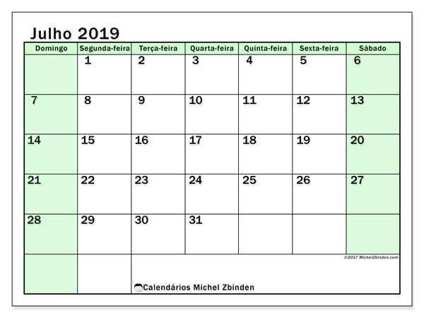 Calendário julho 2019, 60DS. Calendário para imprimir livre.