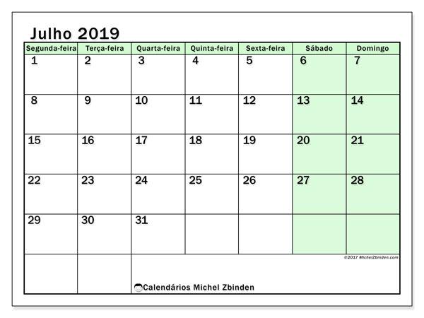 Calendário julho 2019, 60SD. Calendário gratuito para imprimir.