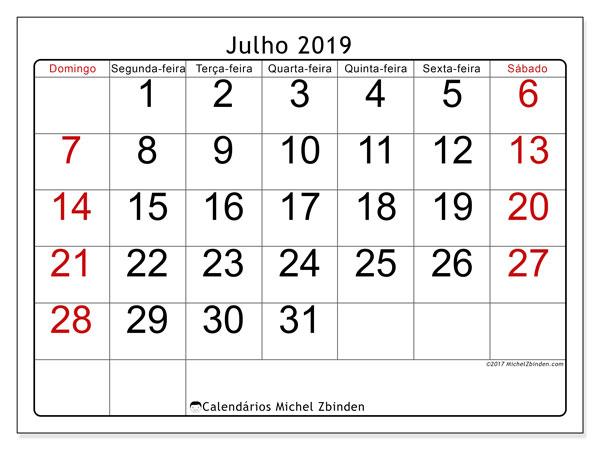 Calendário julho 2019, 62DS. Calendário gratuito para imprimir.