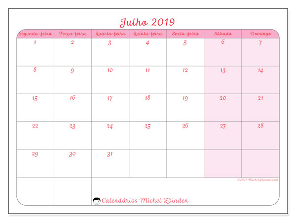 Calendário julho 2019, 63SD. Calendário para o mês para imprimir livre.