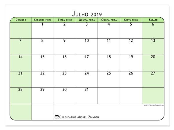 Calendário julho 2019, 65DS. Calendário para imprimir livre.