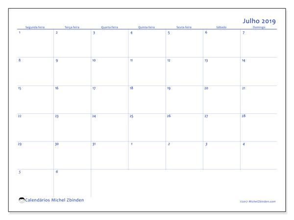 Calendário julho 2019, 73SD. Calendário mensal para imprimir gratuitamente.