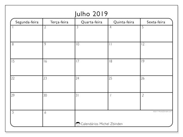Calendário julho 2019, 74DS. Calendário para o mês para imprimir livre.