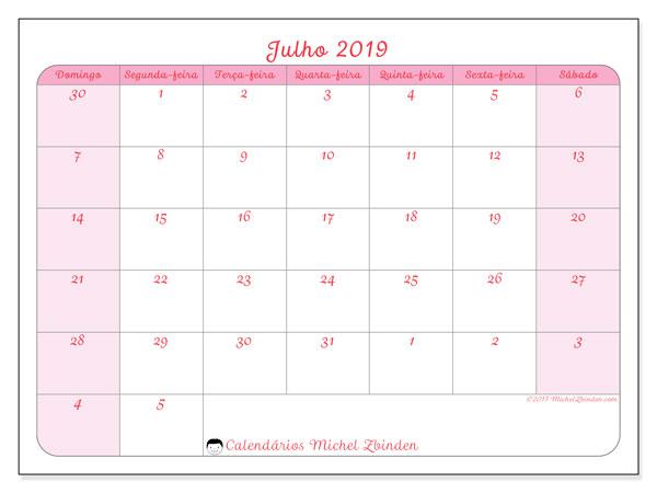 Calendário julho 2019, 76DS. Calendário para imprimir livre.