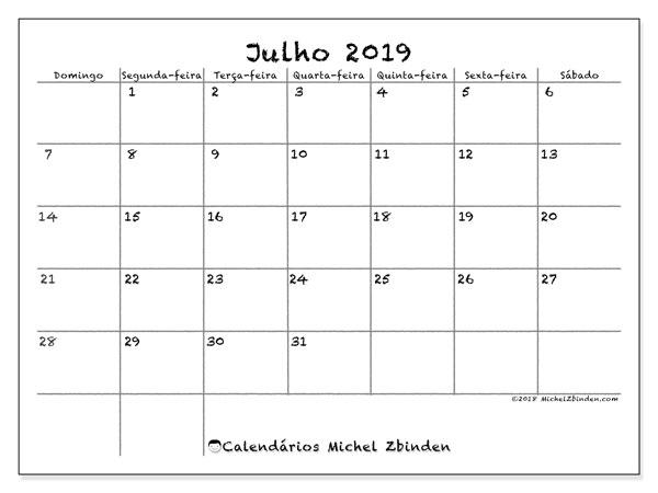 Calendário julho 2019, 77DS. Calendário para o mês para imprimir livre.