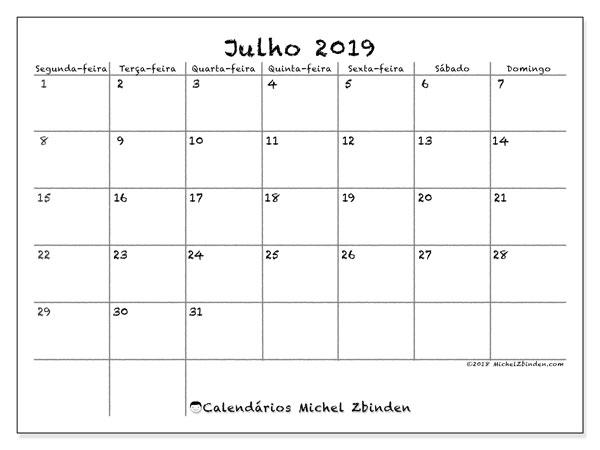 Calendário julho 2019, 77SD. Horário para imprimir livre.