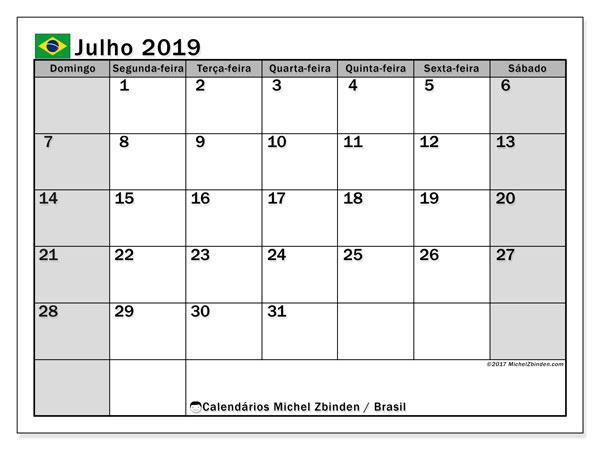 Calendário em julho  de 2019, com feriados públicos do Brasil. Horário para imprimir livre.