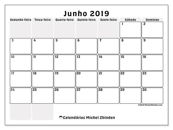 Calendário junho 2019, 44SD. Calendário para imprimir livre.