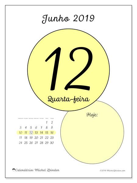 Calendário junho 2019, 45-12SD. Calendário diário para imprimir gratuitamente.