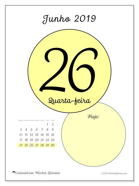 Calendário junho 2019, 45-26SD. Calendário diário para imprimir gratuitamente.