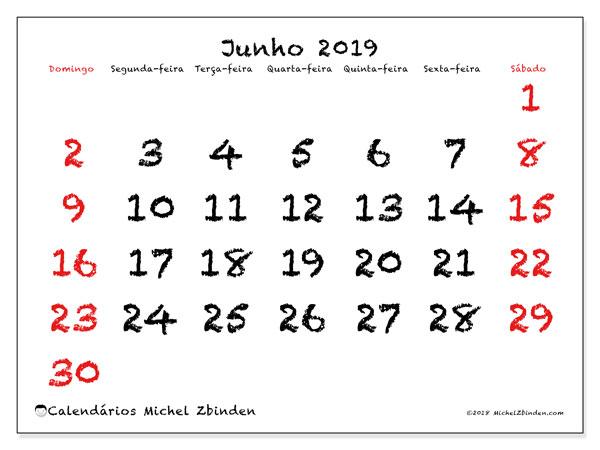 Calendário junho 2019, 46DS. Calendário para imprimir gratuitamente.