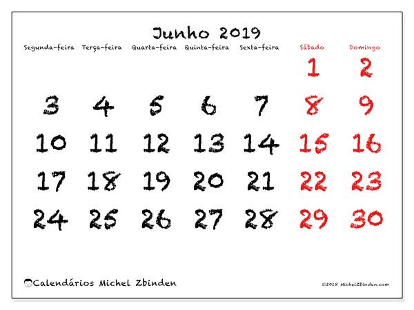 Calendário junho 2019, 46SD. Calendário gratuito para imprimir.