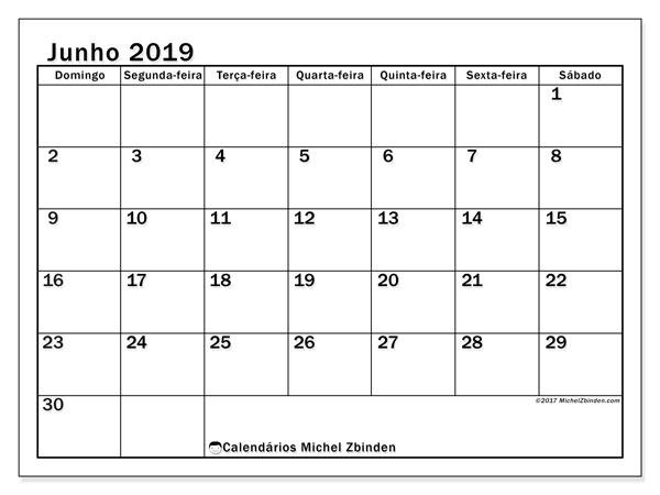 Calendário junho 2019, 50DS. Calendário para imprimir livre.