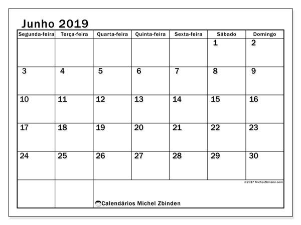 Calendário junho 2019, 50SD. Calendário para imprimir livre.
