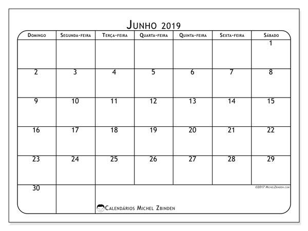 Calendário junho 2019, 51DS. Calendário mensal para imprimir gratuitamente.