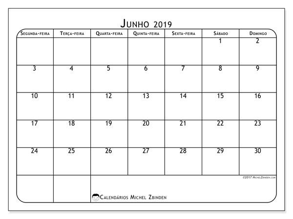 Calendário junho 2019, 51SD. Calendário para imprimir livre.