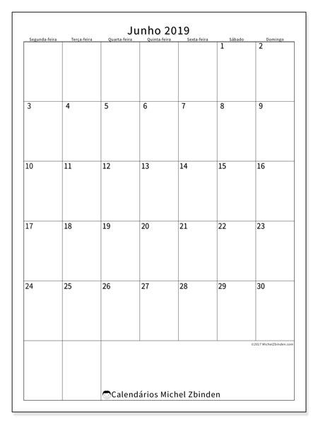 Calendário junho 2019, 52SD. Horário para imprimir livre.
