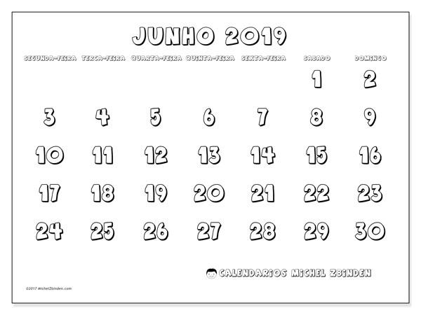 Calendário junho 2019, 56SD. Calendário para imprimir gratuitamente.