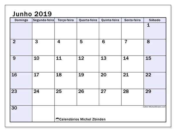 Calendário junho 2019, 57DS. Calendário mensal para imprimir gratuitamente.