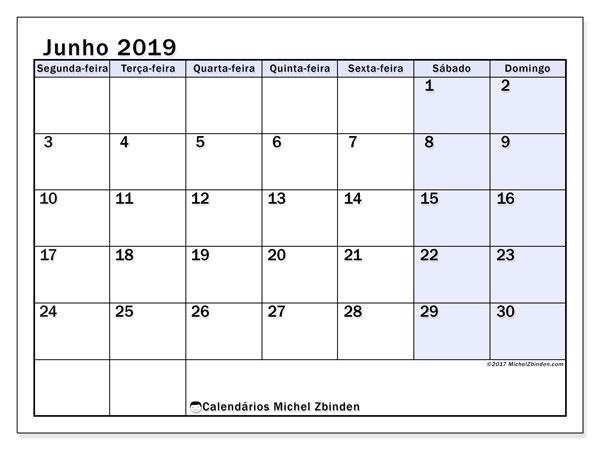 Calendário junho 2019, 57SD. Calendário para imprimir gratuitamente.