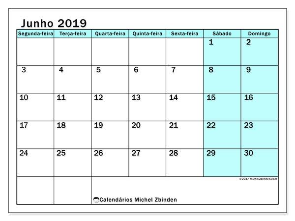 Calendário junho 2019, 59SD. Calendário mensal para imprimir gratuitamente.