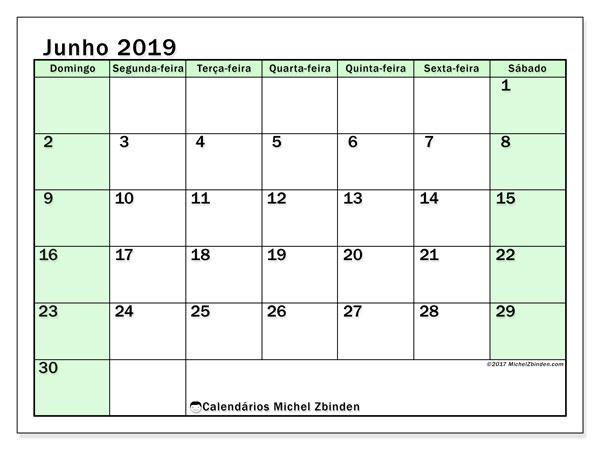 Calendário junho 2019, 60DS. Calendário para imprimir livre.
