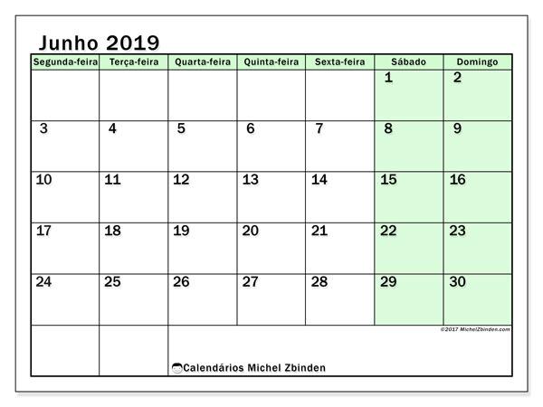 Calendário junho 2019, 60SD. Calendário para imprimir livre.