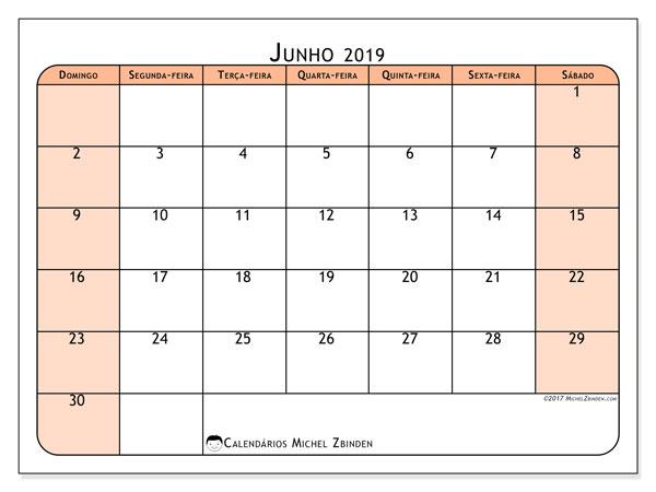 Calendário junho 2019, 61DS. Calendário mensal para imprimir gratuitamente.