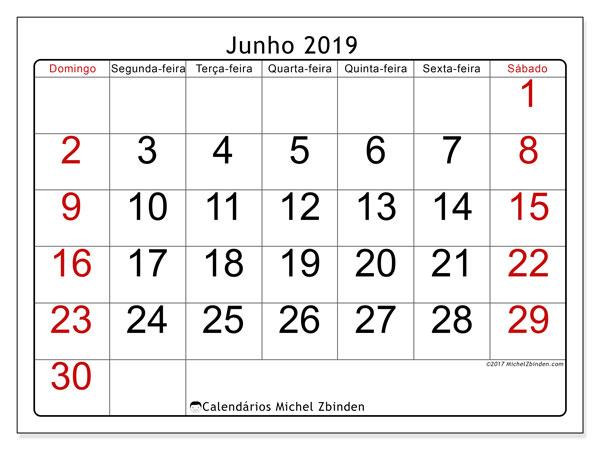 Calendário junho 2019, 62DS. Calendário para imprimir livre.
