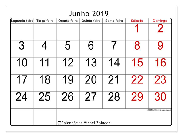 Calendário junho 2019, 62SD. Agenda para imprimir livre.