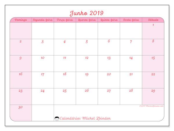 Calendário junho 2019, 63DS. Horário para imprimir livre.