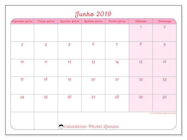Calendário junho 2019, 63SD. Calendário para imprimir livre.