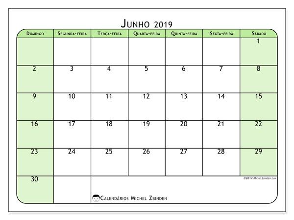 Calendário junho 2019, 65DS. Calendário para imprimir gratuitamente.