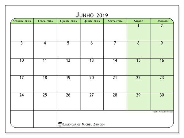 Calendário junho 2019, 65SD. Calendário mensal para imprimir gratuitamente.