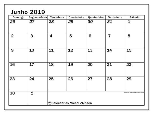 Calendário junho 2019, 66DS. Calendário gratuito para imprimir.