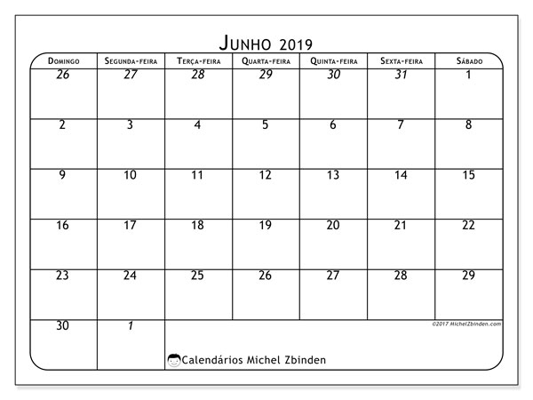 Calendário junho 2019, 67DS. Horário para imprimir livre.