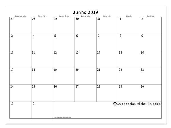 Calendário junho 2019, 70SD. Agenda para imprimir livre.
