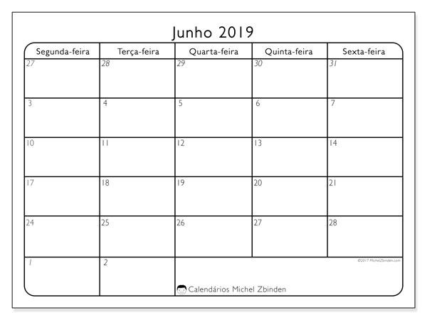 Calendário junho 2019, 74SD. Horário para imprimir livre.