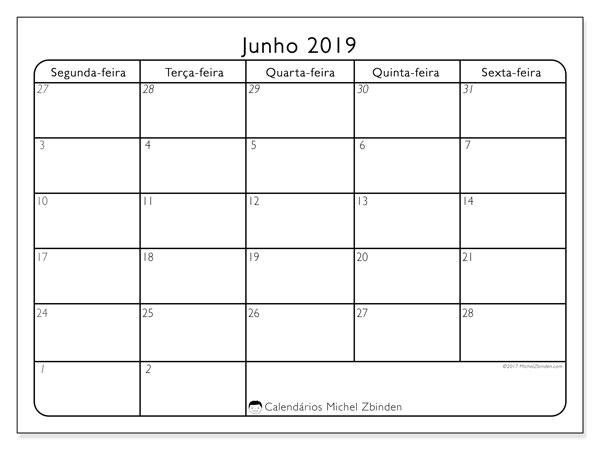 Calendário junho 2019, 74SS. Calendário mensal para imprimir gratuitamente.