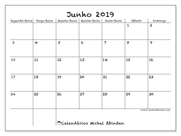 Calendário junho 2019, 77SD. Calendário para imprimir gratuitamente.