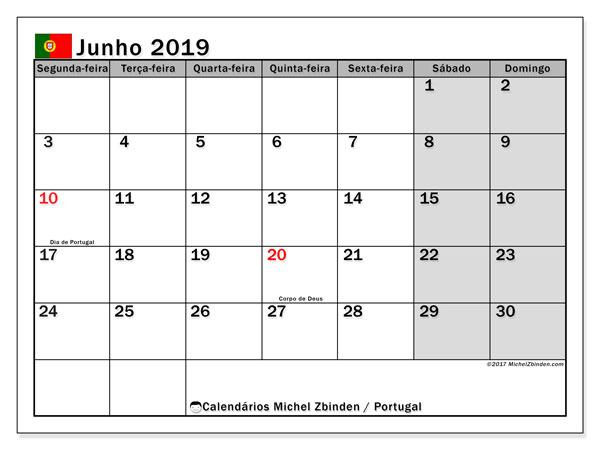 Calendário em junho  de 2019, com feriados públicos em Portugal. Horário para imprimir livre.