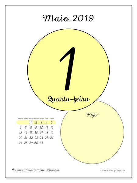 Calendário maio 2019, 45-1SD. Calendário diário para imprimir gratuitamente.