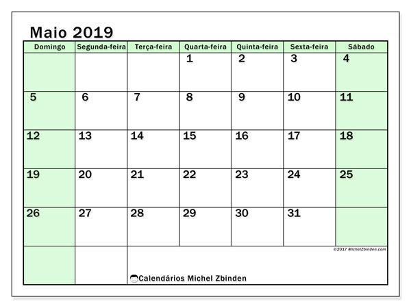Calendário maio 2019, 60DS. Calendário mensal para imprimir gratuitamente.