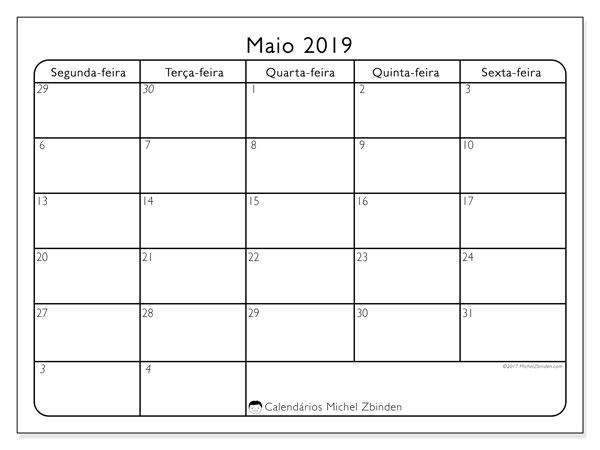 Calendário maio 2019, 74DS. Calendário mensal para imprimir gratuitamente.