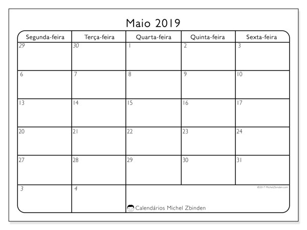 Calendário maio 2019, 74SS. Calendário gratuito para imprimir.