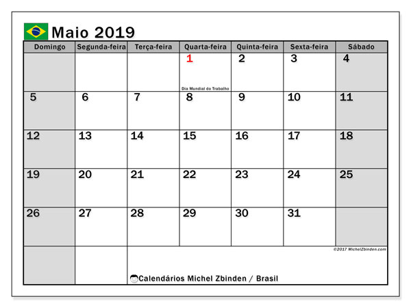 Calendário em maio  de 2019, com feriados públicos do Brasil. Calendário para imprimir livre.