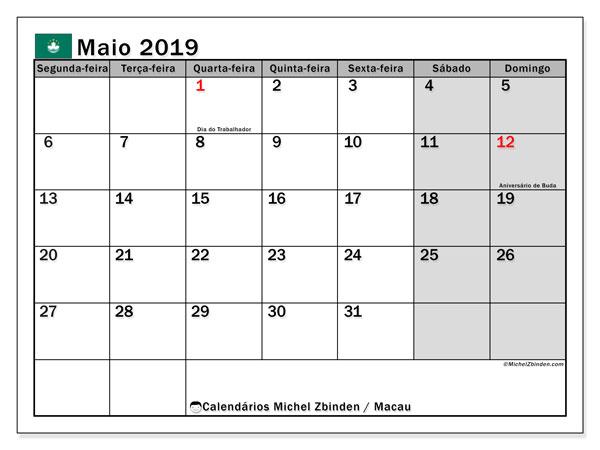 Calendário maio 2019, com as festas do Macau. Calendário feriados para imprimir gratuitamente.