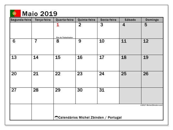 Calendário em maio  de 2019, com feriados públicos em Portugal. Calendário mensal para imprimir gratuitamente.