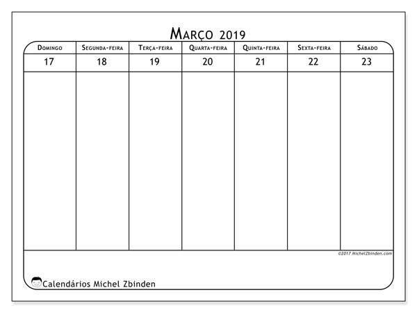 Calendário de março  de 2019 (43-4DS). Calendário para a semana para imprimir livre.